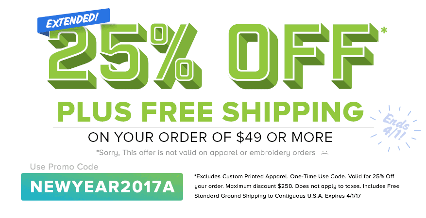 Save 25% + Plus Free Shipping on Full Color, Stickers and Large Format